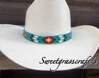 Beaded Turquoise Cowboy Hat Band db20459c5379