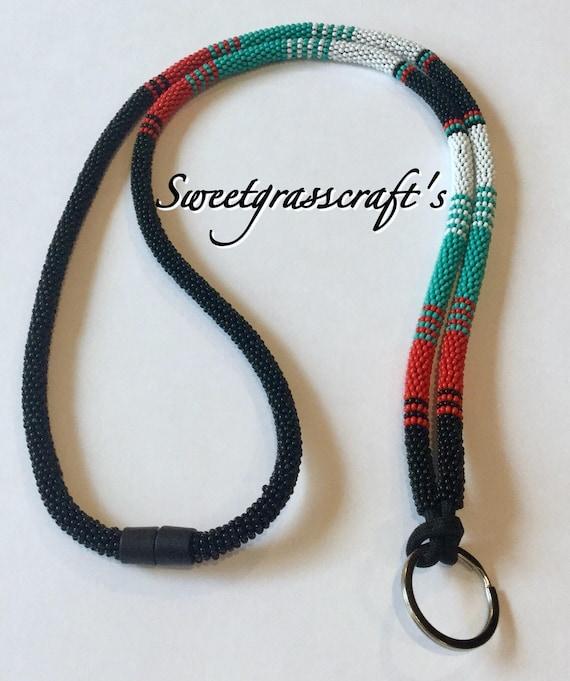 Native American Beaded Lanyard Badge holder Beaded Lanyard Breakaway Lanyard Beaded Safety Lanyard keychain
