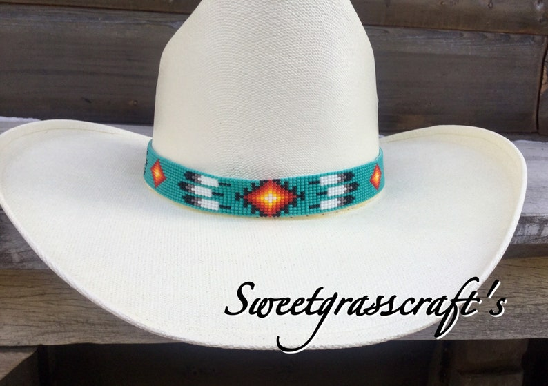 Beaded Turquoise Cowboy Hat Band Native American Beaded  a31f49f2173