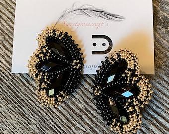 Native American beaded black earrings, black & gold beaded earrings, flower earrings, unique beaded earrings, Powwow earrings