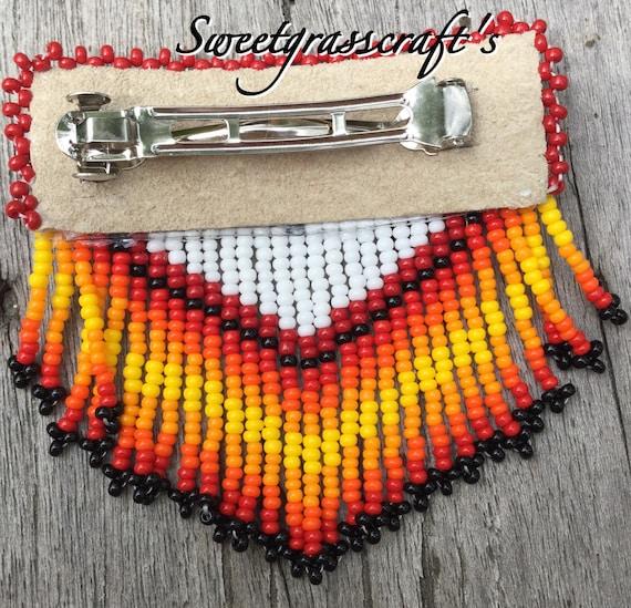 Southwestern Geometric Handmade Beaded Ponytail Cuff French Barrette Clip Pink
