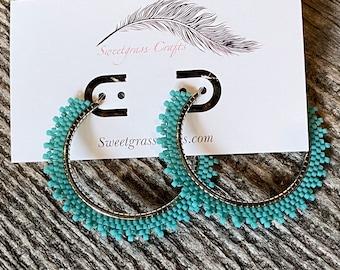 """2"""" inch turquoise beaded hoop earrings, beaded hoop earrings, Native beaded earrings, summer earrings, statement earrings, hoops"""