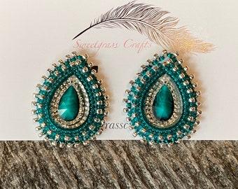 Teardrop beaded earrings, Native earrings, Dark green/teal teardop earrings, Native Beadwork, Unique beaded earrings