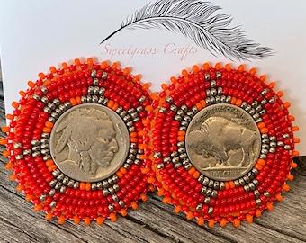 Buffalo nickel coin earrings, beaded Indian head nickel earrings, beaded Native American earrings, Indigenous earrings
