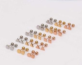 Thin grey line 8mm stud earrings prison personnel