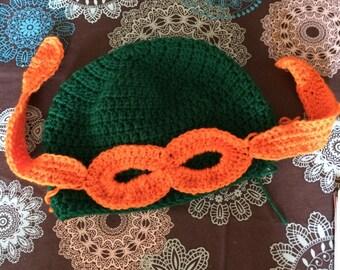 Crochet Ninja Turtle Beanie and Mask