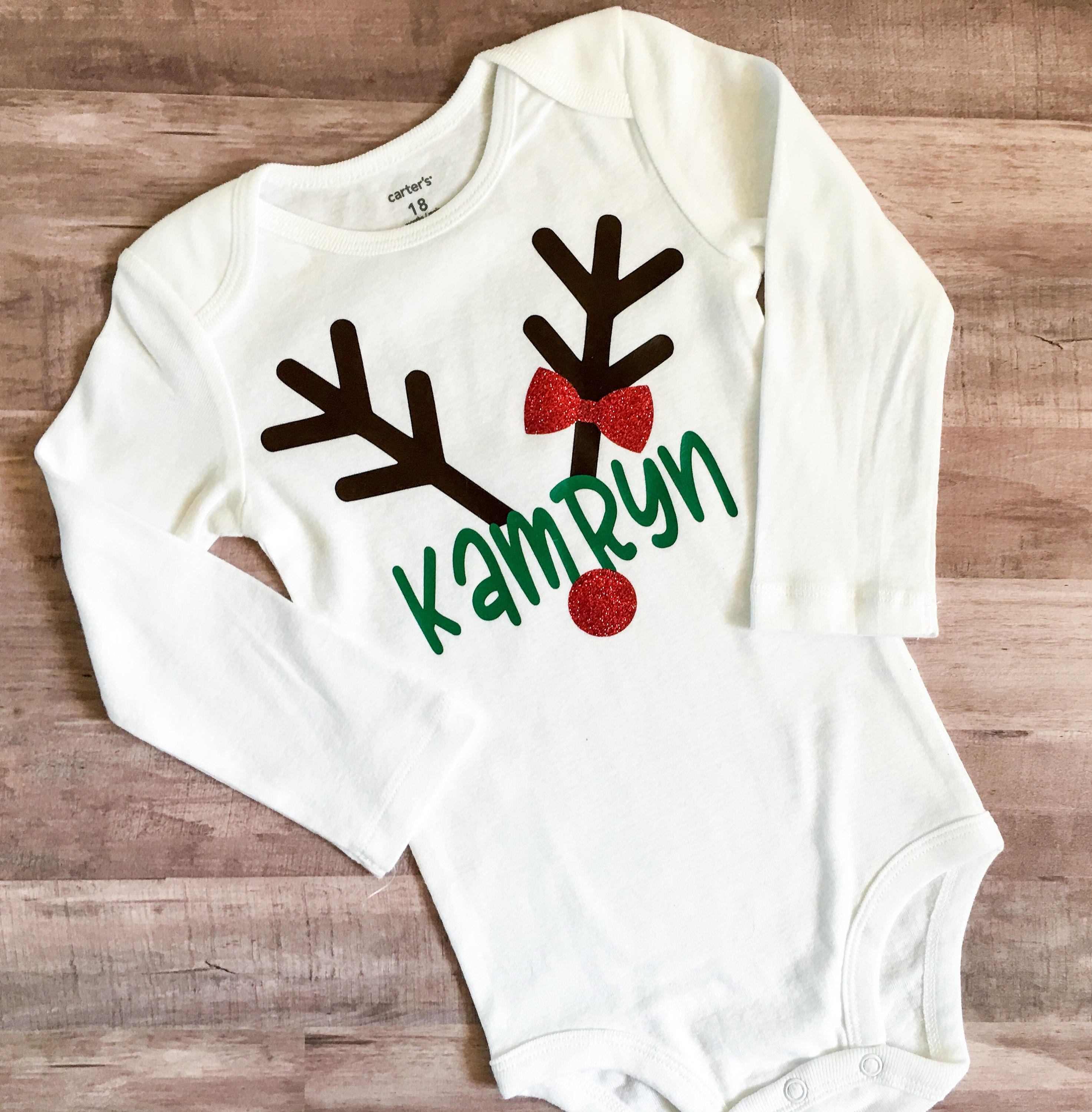 Reindeer Bodysuit Baby Girl Christmas Outfit Personalized   Etsy