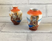 Pair Miniature Japanese Oriental Satsuma Moriage Hand Painted Vases China Porcelain
