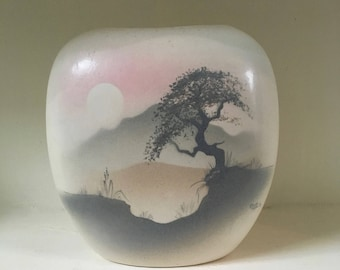 Beautiful Japanese Design Vase with Muted Tones Signed Fiona Roberts