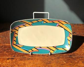 \u201cCarnival\u201d handmade porcelain Post-Modern Design Rosenthal Flash Dorothy Hafner festive square bowl 5\u201d signed and dated