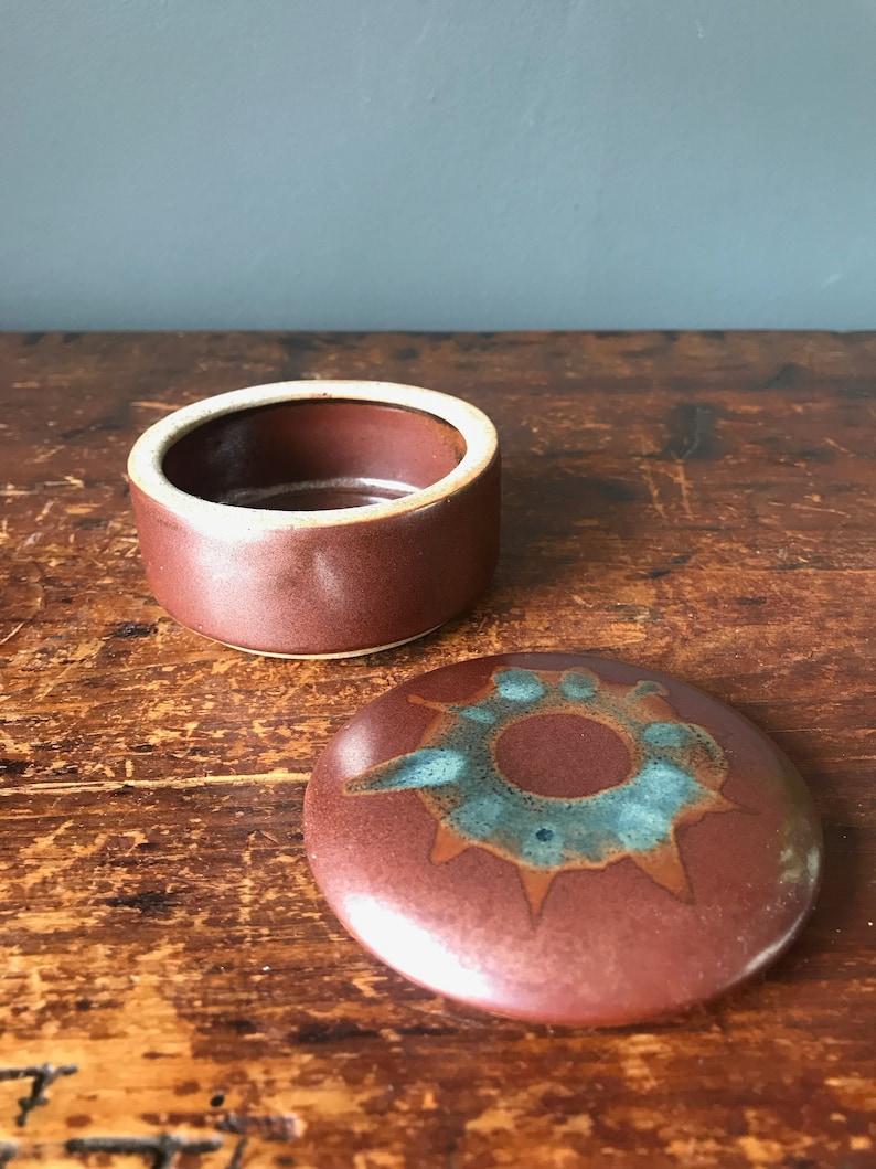 Studio Pottery Trinket Pot or Dish Jewellery Green Lidded Ceramic Pot
