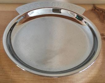 White Metal Spare Change Pocket Change Plate Platter Desk or Dresser Money