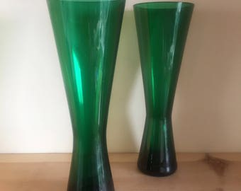 Stunning Pair of Bottle Green Geometric Concave Vases