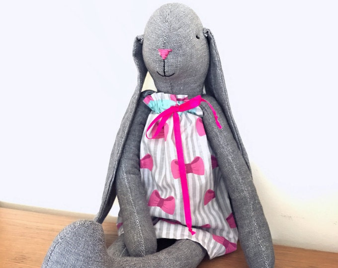 Grey Bunny in dress, Easter Bunny, Rag Bunny, Linen Bunny, Soft Bunny, Boy Bunny, Boys First Birthday Gift, Boys Christening Gift,