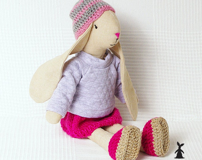 Beige Bunny in knitted red skirt, Christmas Gift, Rag Bunny, Soft Bunny, Boy Bunny, Girls First Birthday Gift, Christening Gift,