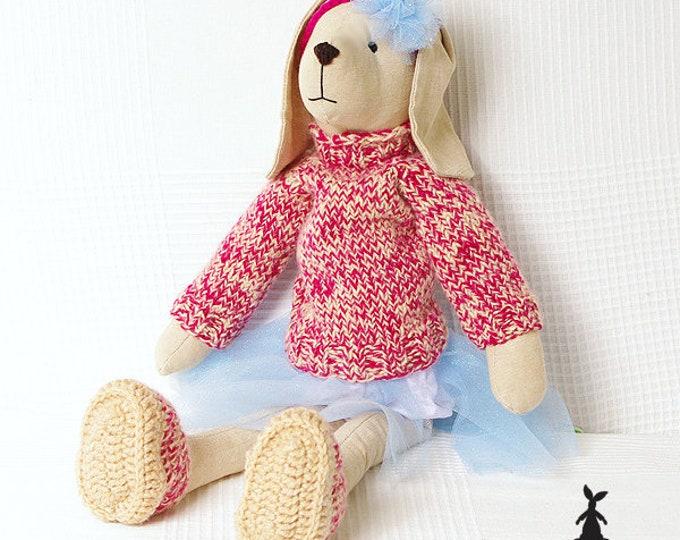 Beige Bunny in tulle skirt, Christmas Gift, Rag Bunny, Soft Bunny, Boy Bunny, Girls First Birthday Gift, Christening Gift,