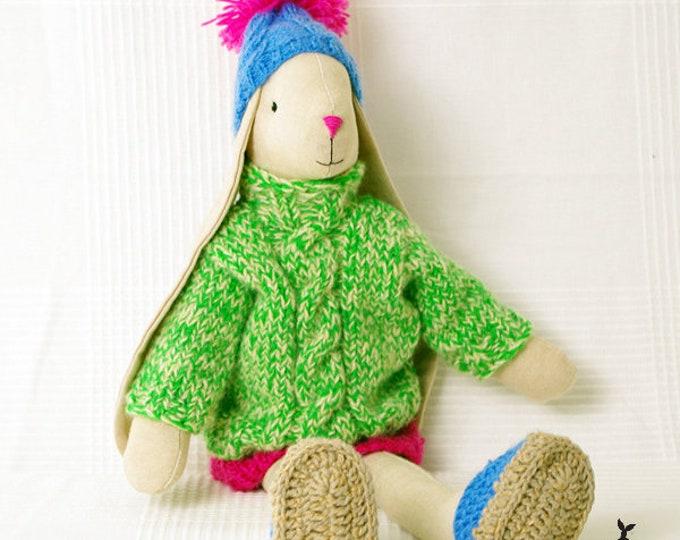 Beige Bunny in knitted skirt, Easter Bunny, Rag Bunny, Linen Bunny, Soft Bunny, Boy Bunny, Girls First Birthday Gift, Christening Gift,