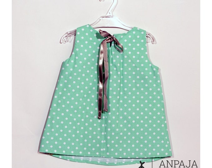 Green tunic with dots- Girls' Clothing