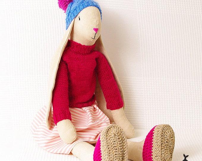 Beige Bunny in dress, Easter Bunny, Rag Bunny, Linen Bunny, Soft Bunny, Boy Bunny, Girls First Birthday Gift, Girls Christening Gift,