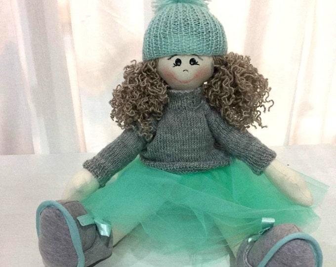 Mint Tulle Rag Doll, cloth doll, handmade doll, knitted sweater, curly hair, gift for a girl