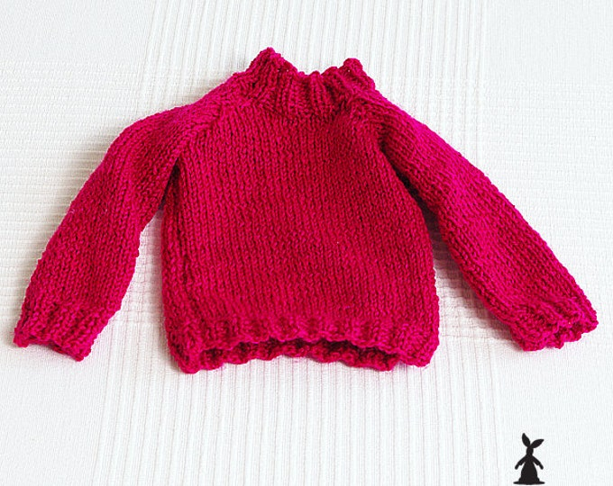 Knitted red jumper for rag Bunny, hand knitted baby jumper, handknitted baby, unisex rabbit clothes, bunny clothes
