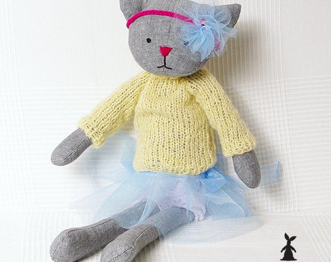 Grey Cat in knitted yellow jumper, Christmas Gift, Rag Cat, Soft Cat, Boy Cat, Girls First Birthday Gift, Christening Gift,