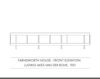Farnsworth House (front elevation) - modernist architecture art print