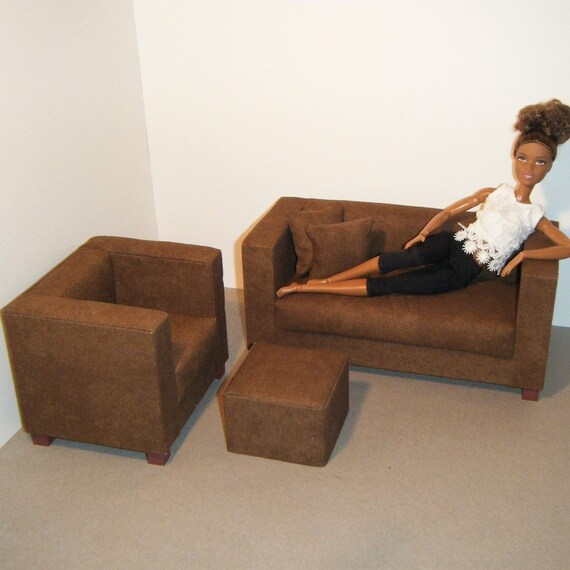 Magnificent Doll Furniture Sofa Chair Pouf And Pillows Barbie Momoko Blythe Pullip Fashion Dolls 1 6 Playscale Living Room Diorama Brown Short Links Chair Design For Home Short Linksinfo