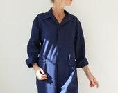 Vintage Deep Indigo Cotton Coverall Herringbone Utility Coveralls Jump Suit Jumpsuit Cotton Navy Mechanic Boilersuit Boiler Suit