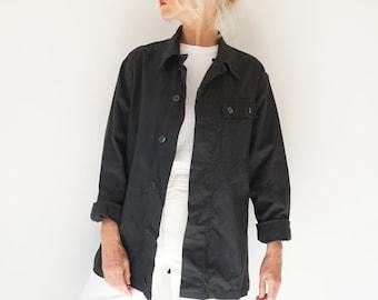 Vintage Gray German Duster Coat Utility Duster Chore Shop Coat S M Work Jacket Artist Smock