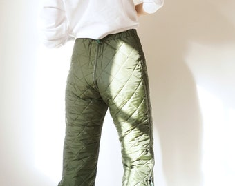 Vintage Military Quilted Liner Pants   Green Quilt Cotton Army High Waist Liner Pants    Insulated Puffer   S