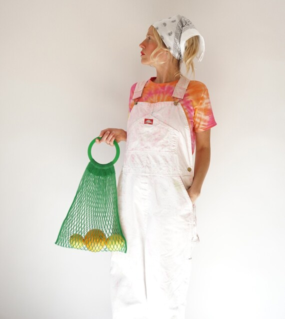 """Vintage Candy Dyed White Dickies Overalls 34"""" W 