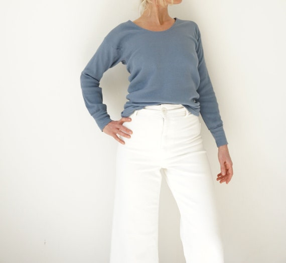 Vintage Blue Corn Ribbed Cotton Shirt | Rib Knit L