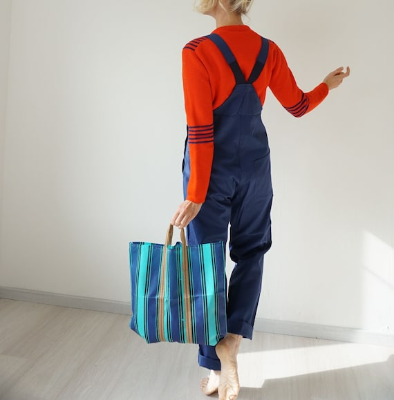 Vintage Deep Indigo French Workwear Overalls | Nav