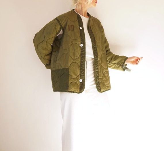 Vintage Reworked Military Quilted Liner Jacket Whi