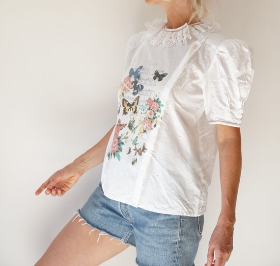 Vintage White Puff Sleeve Blouse | Ruffle Butterf… - image 5