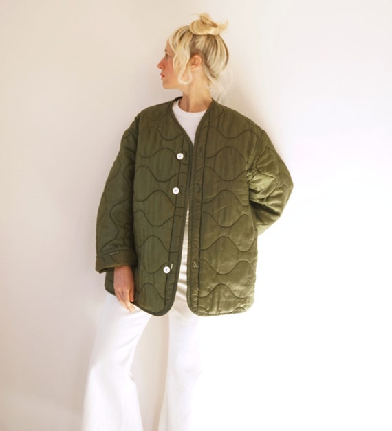 Vintage Military Quilted Liner Jacket White Button