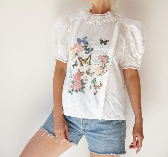 Vintage White Puff Sleeve Blouse | Ruffle Butterf… - image 2