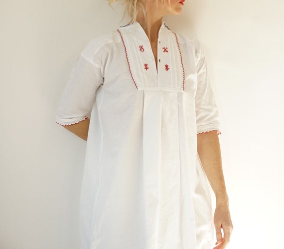 Vintage French Antique White Cotton Shirt   Edward