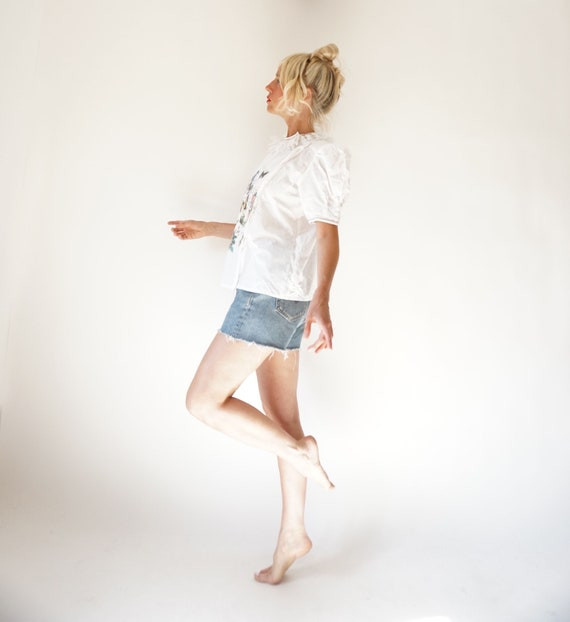 Vintage White Puff Sleeve Blouse | Ruffle Butterf… - image 8