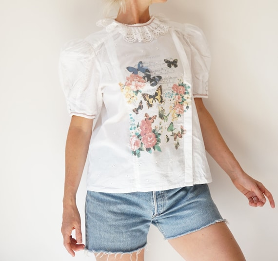 Vintage White Puff Sleeve Blouse | Ruffle Butterf… - image 4