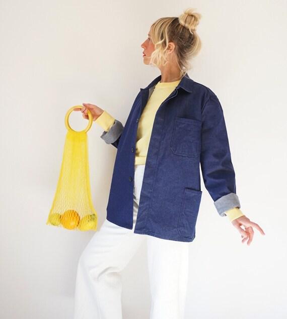Vintage Indigo Denim Cotton Chore Jacket | Unisex… - image 7