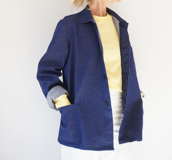 Vintage Indigo Denim Cotton Chore Jacket | Unisex… - image 5