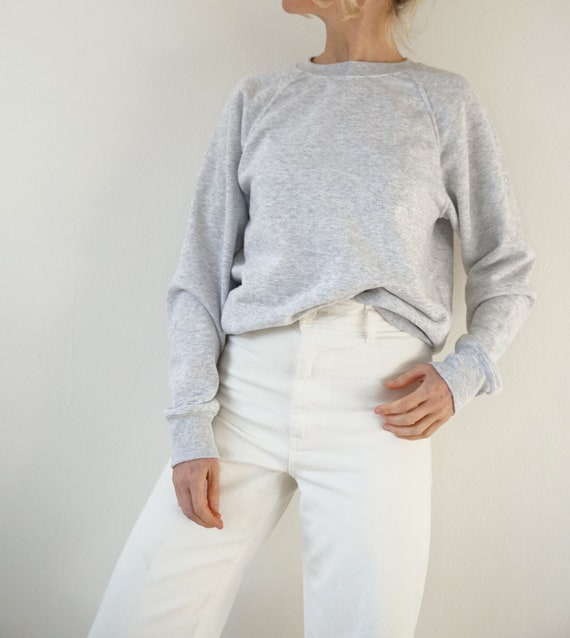 Vintage Light Grey Raglan Sweatshirt | 80s Heather