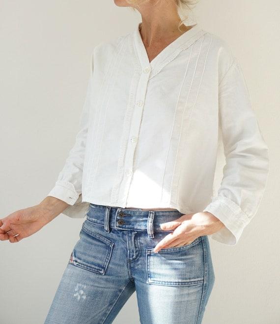 Vintage French Antique White Flannel Shirt   Edwar