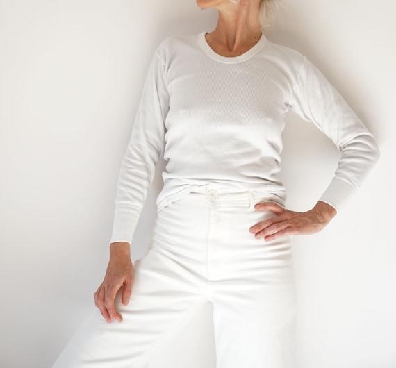 Vintage White Ribbed Cotton Shirt | Rib Knit Long