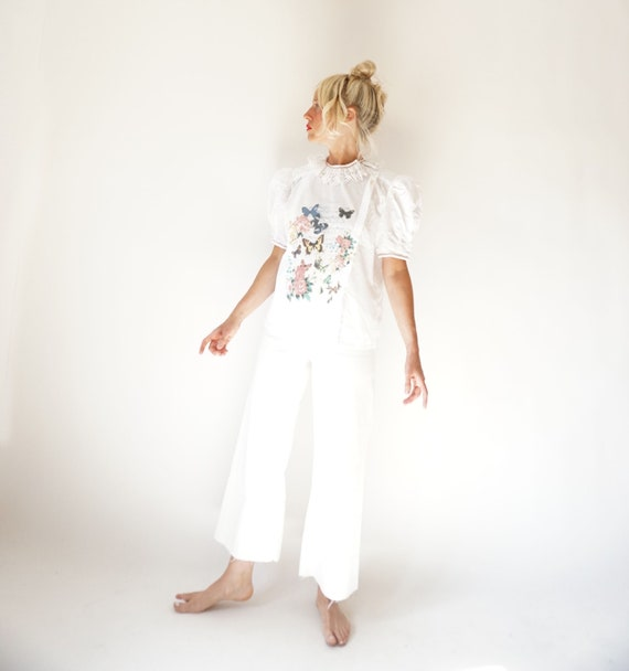 Vintage White Puff Sleeve Blouse | Ruffle Butterf… - image 9