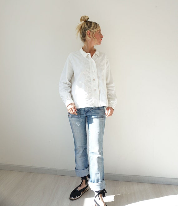 Vintage French Antique White Flannel Shirt | Edwar