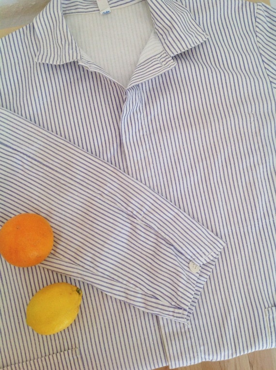 Vintage Striped Cotton Chore Jacket | Unisex Germ… - image 3