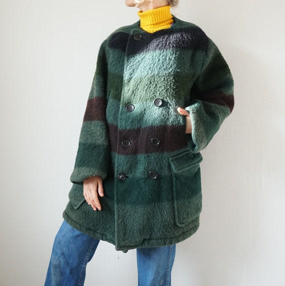 Vintage Hudson Bay Wool Coat | Green Moss Striped